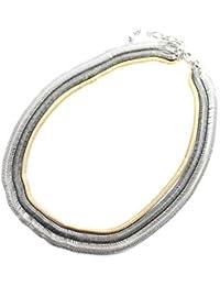 CC404-Collar varias vueltas de cadena, serpiente de metal decorativa, diseño de malla, modo de fantasía