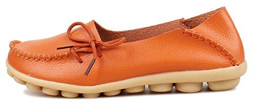 Kunsto  Loafer Flats, Mocassins pour femme Orange - Orange