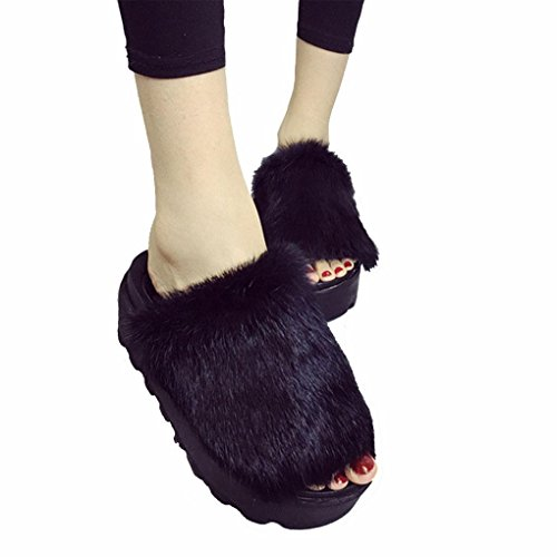 DM&Y 2017 focaccina coniglio nero pantofole di pelliccia dal fondo pesante piatto parola pantofole punta aperta Black