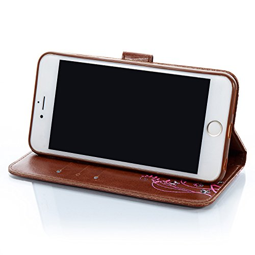 iPhone 6/6S Leather Case,iPhone 6/6S Coque Portefeuille,Hpory élégant Fashion 3D Design Colorful Painted with Lanyard PU Cuir Case Book Style Folio Stand Fonction Support PU Leather Walllet Case with  Brown, Fleur