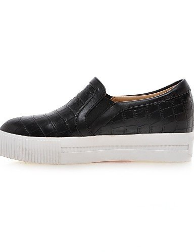 ZQ gyht Scarpe Donna-Mocassini-Casual-Punta arrotondata-Piatto-Finta pelle-Nero / Bianco , white-us8 / eu39 / uk6 / cn39 , white-us8 / eu39 / uk6 / cn39 black-us6 / eu36 / uk4 / cn36