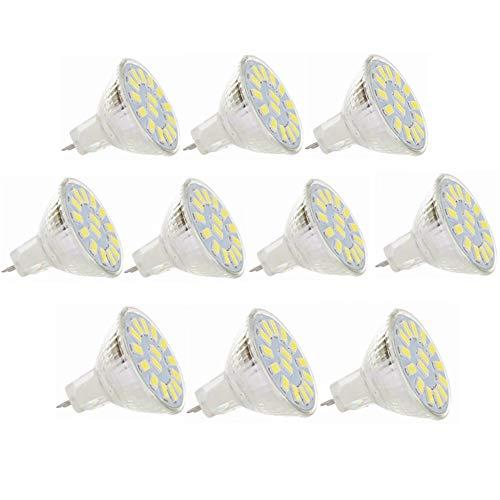 Bombillas LED MR11 de 5W 12V 24V, GU4.0 15led 5730SMD, equivalente a 40w, 350-380LM, No regulable, Foco empotrable para foco, AC / DC 9-30v, paquete de 10PresupuestoForma de la bombilla: MR11,Tipo : LED Spotlight,Color claro: Blanco cálido, blanco fr...