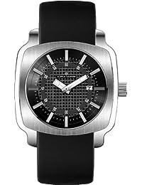 Alpha Saphir 286A - Reloj de caballero de cuarzo, correa de piel color negro