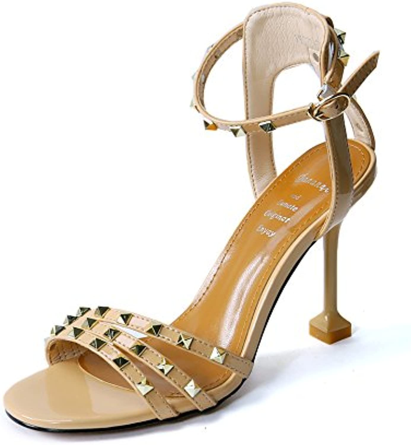 LGK&FA The Same Pair of High Heeled Shoes Female Toes Fashion Rivets Thin and Hollow Buckles with Sandals. Thirty-Five...