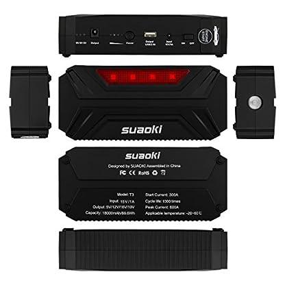 41Py2IEy7vL. SS416  - Suaoki T3 - Jump Starter 18000mAh Batería Arranque Kit 600A Arrancador Pack Para Coche (Batería portátil, 12/16/19V, Multifuncional)