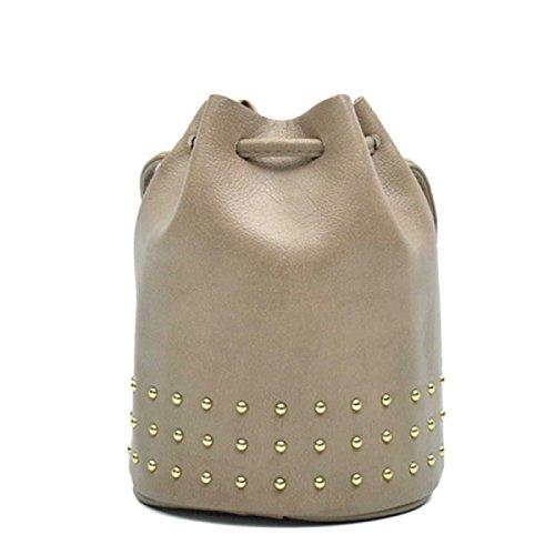 Frauen Nieten Wannenbeutel Art Und Weise Kurier Tasche Grey