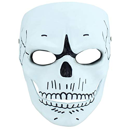 Halloween Weihnachtsmaske 007 Geisterparty Harz Maske Menschlicher Smiley COS Film Thema Terrorist Party Sammlerstück Masken (Color : Weiß, Size : 18 * 21CM/7 * 8inch)
