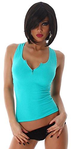 B & x top pour femme avec broderie en filet uni & décorés Vert - Mintgrün