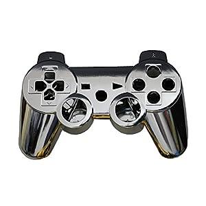 OSTENT Full Controller Shell Gehäuse Gehäuse Button Kit kompatibel für Sony PS3 Bluetooth Controller – Farbe Silber