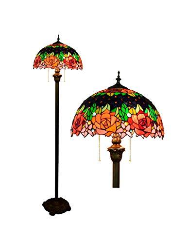 Floral Vintage Stehlampe (KCoob Rote Stehlampe voller Rosen Muster Romantische Floral für Schlafzimmer Vintage European Style Pull Chain)