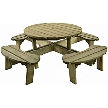 Superb Aberdeen Heavy Duty 8 Seater Round Picnic Table Classic Wooden Pub Bench