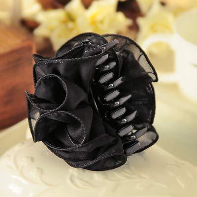 Koreanische Handgemachte Haarspange Trim Chiffon Garn Schöne Rose Blumen Großen Griff Schachtelhalm Clip Schwarz Blume Trim