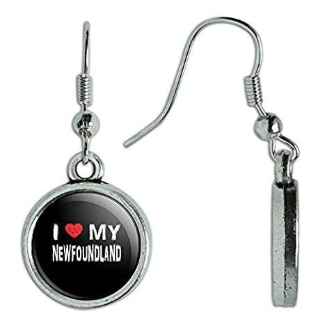 Neuheit Dangling Drop Charm-Ohrringe I Love My Dog k-p Newfoundland
