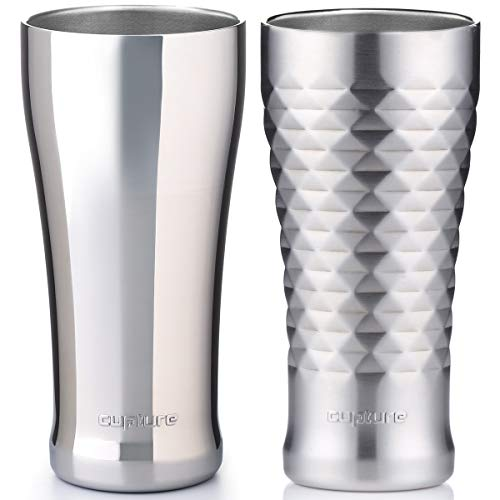 Cupture doppelwandig vakuumisoliert Pint Cup/Bier Becher-16Oz (Chrom + gesteppt) -