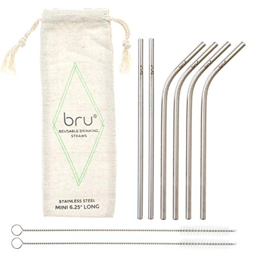 "Small Reusable Metal Drinking Straws | 4 Bent, 2 Straight, 2 Cleaning Brushes & Linen Pouch | Eco & Travel Friendly | Stainless Steel | Mini 6.25"" Long 