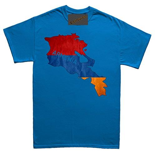 Renowned Armenia Flag Map Grunge Herren T Shirt Blau