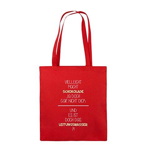 Comedy Bags - Vielleicht macht Schokolade ja doch gar nicht dick. - LEITUNGSWASSER - Jutebeutel - lange Henkel - 38x42cm - Farbe: Schwarz / Weiss-Neongrün Rot / Weiss-Beige