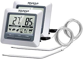 Thermomètre et Minuteur Cuisine Sonde Numérique de Cuisine Numérique avec Ecran LCD Programmable,Longue Sonde,Alerte BIPS et Température Préréglée/Mode de Minuterie/Parfait pour l'Alimentation, la Viande, le Gril , BBQ, Lait et l'Eau de Bain 2 Pack