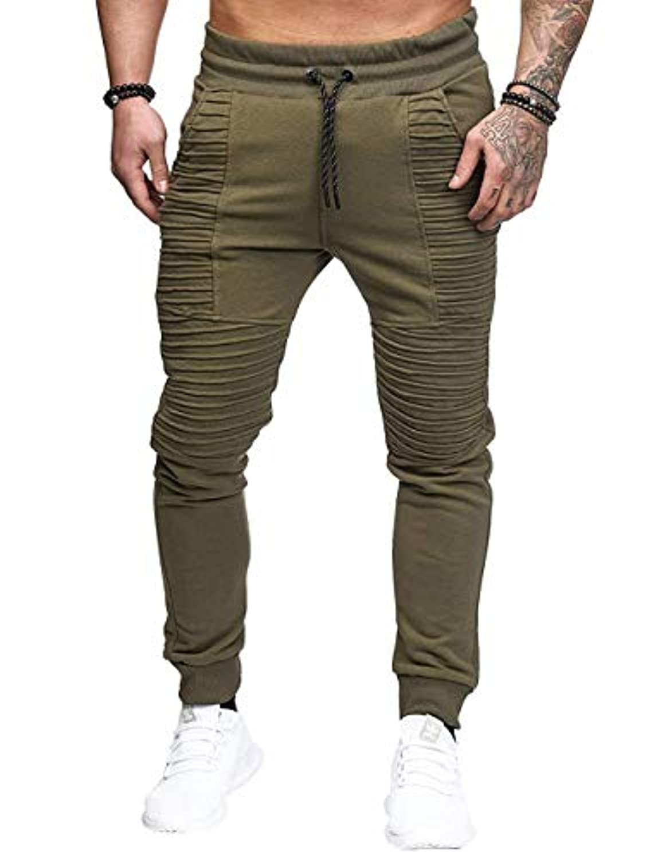 510b3584ac967 SOMTHRON Homme Ceinture élastique à long coton Jogging pantalons de ...