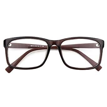CGID CN12 Brille Extra Schmaler Rahmen! Slim Rechteck Nerd Clear Brille, A Braun,