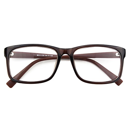 CGID CGID CN12 Brille Extra Schmaler Rahmen! Slim Rechteck Nerd Clear Brille, A Braun,
