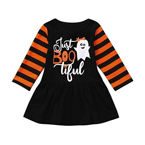 VICGREY Abiti Costume Halloween Set, Bambino Baby Girls Bambino Manica Lunga A Strisce Vestito Zucca Ghost Print Abito Abiti Costume di Halloween