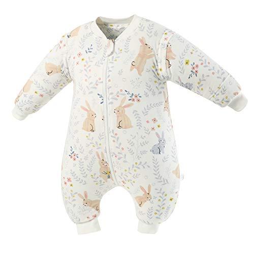 Baby Schlafsack mit Beinen Warm Gefüttert Winter Langarm Winterschlafsack mit Fuß 2.5 Tog (Weißes_Kaninchen,M/Höhe 88cm-98cm)