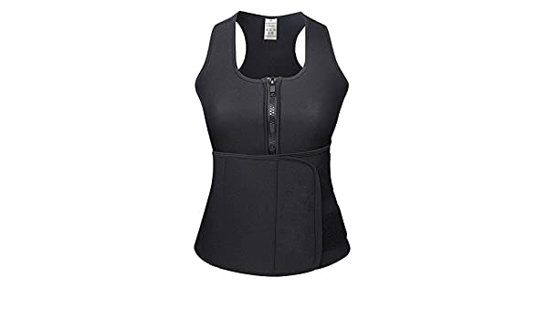 548573fbf3 KINJOHI Women s Plus Size Sweat Vest Neoprene Sauna Waist Trainer - Black -  XXXXXL  Amazon.co.uk  Clothing