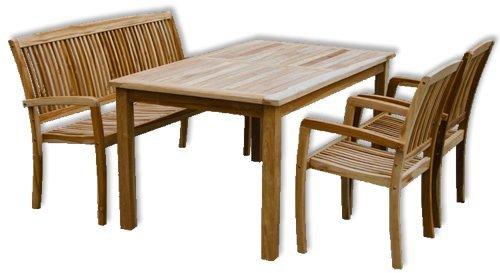 KMH, Teak Gartensitzgruppe 'Victoria' mit 180 cm langem Tisch für 5 Personen (#102132)