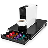 Savisto Nespresso Pod Holder | Metal Coffee Capsule Storage Drawer for 60 Coffee Capsules - Black