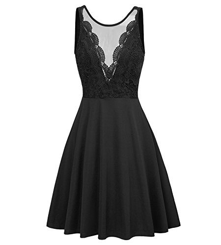 GRACE KARIN 50s Retro Lace Patchwork Dress Sleeveless A Line Flared Party Dress