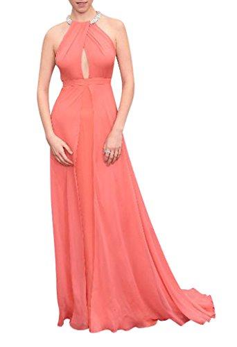GEORGE BRIDE Charmante und elegante Chiffon Abendkleid orange rosa