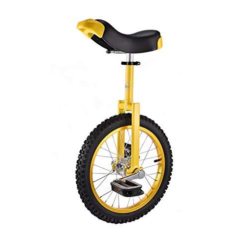 ZSH-dlc Einrad 16/18 Zoll Single Round Kinder Erwachsene Höhenverstellbar Balance Radfahren Übung Gelb (größe : 16 inch)