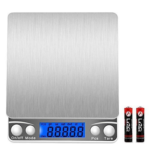 Bilancia digitale(500g/0,01g) bilancia per gioielli, bilancia professionale multifunzione con display lcd retroilluminato,funzioni tara e pcs,piattaforma in acciaio inossidabile(batterie incluse)