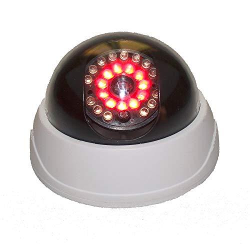 2X professionelle Domkameras Dummy mit IR Stahler Kamera Attrappe mit Objektiv und Blinkled Videoüberwachung Warensicherung