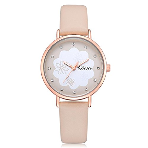 Uhren Dellin Mode Damen Retro Design Lederband Analog Alloy Quarz-Armbanduhr (Beige)