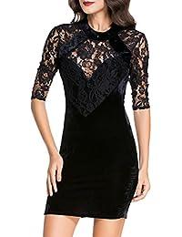f731859f45b4 MYWY - Abito donna vestito donna pizzo maniche tre quarti abito sexy  elegante effetto velluto schiena