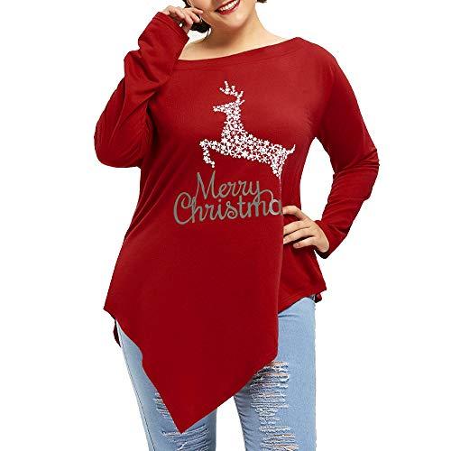 Christmas Shirt Damen UFODB Frauen Weihnachten Drucken Bluse Schulterfrei Irregular Tops Hemd Casual Hemden Lose Pullover Langarmshirt Oberteile