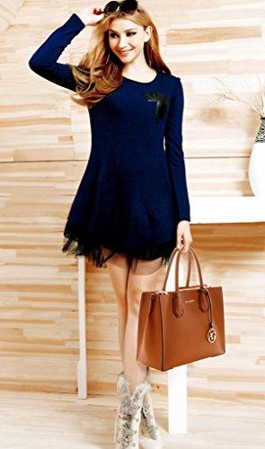 LeahWard Damenmode Kunstleder Tote Handtaschen Schultertasche Geschäftsreise-Computer-Taschen für Frauen Schule treffen 00559 (BRAUN SCHULTERTASCHE) BRAUN TRAGETASCHE