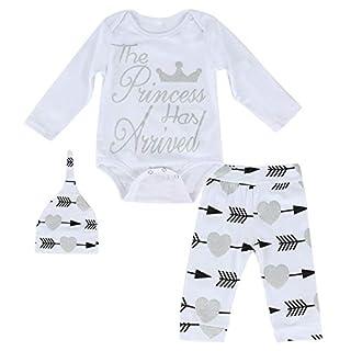 3PCs Baby Romper Tops +Arrow Heart Pants+Hat Newborn Infant Kids Clothes Set (Color : White, Size : 12-18M)