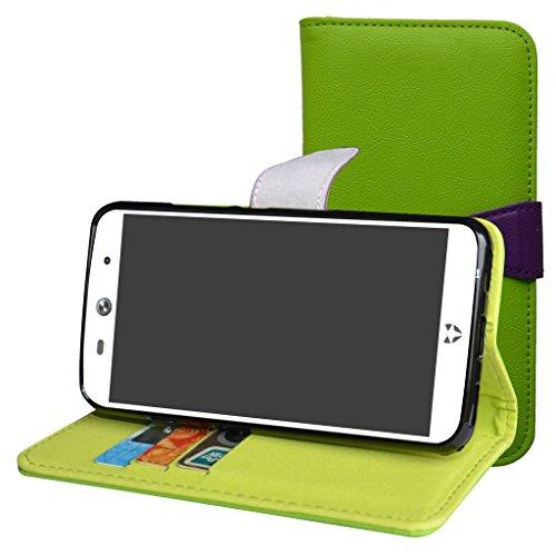 WileyFox Swift 2 / Swift 2 Plus Hülle,Mama Mouth Brieftasche Schutzhülle Case Hülle mit Kartenfächer und Standfunktion für WileyFox Swift 2 / Swift 2 Plus Smartphone,Grün