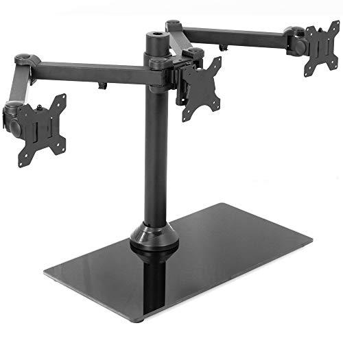 Vivo schwarz Triple Monitor Halterung freistehend Schreibtisch Ständer w/Glas Boden | schwere Pflicht Voll Verstellbarer Ständer für DREI (3) Bildschirme bis 61cm (stand-v003fg)