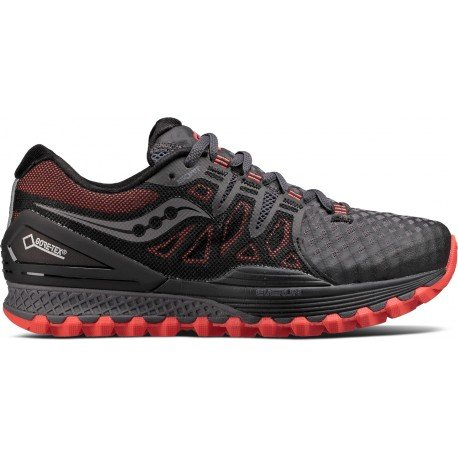 Saucony Women Xodus Iso 2 GTX Trail Running Shoe Running Shoes Dark Grey - Red