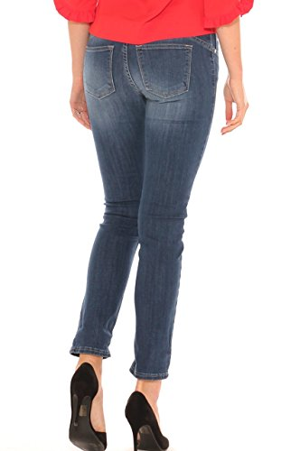 Jeans skinny donna in denim cotone stretch con schiariture Jeans