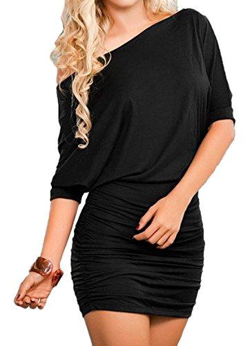 bst Langarm Etuikleider Einfarbig Minikleid Schräg Schulter Cocktailkleid Paket-Hüfte-kleid Schrittrock Bleistiftrock (EU44(XXL), Schwarz) (Gehobene Kleid)