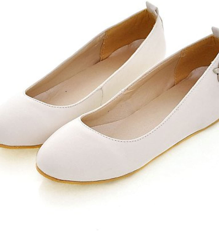 PDX/de zapatos de mujer piel sintética talón plano punta redonda Flats Casual negro/azul/rosa/blanco/Beige