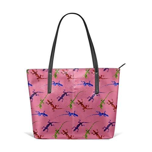 hulili Damen Tasche Schultertasche aus weichem Leder Bunte Eidechsen auf rosa Mode Handtaschen Satchel Geldbörse