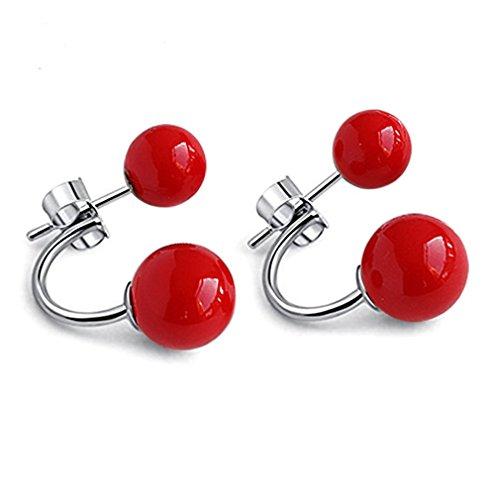 YAXUN Damen Rote Ohrringe 925 Sterling Silber Ohrstecker Halbrund Doppel Rot Natürliche Korallen Perlen Ohrringe Modeschmuck Für Frauen Mädchen