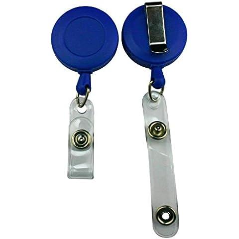 Genérico Correa de vinilo de tarjeta de identificación carrete retráctil con clip de cinturón color deep blue Pack de 5