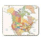Luancrop Amérique Couleur rétro Carte Politique des États-Unis et du Nord Canada Tapis de Souris Tapis de Souris...